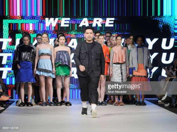 VANCOUVER, BC - MARCH 26:  Designer Alex S. Yu walks the runway at Vancouver Fashion Week Fall/Winter 2017 at Chinese Cultural Centre of Greater Vancouver on March 26, 2017 in Vancouver, Canada.  (Photo by Arun Nevader/WireImage)
